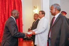 Presenting credentials to H.E Maithripala Sirisena, President of Sri Lanka